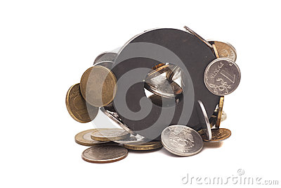 Coins attracted by magnet