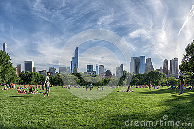 NEW YORK - USA - 14 JUNE 2015 people in central park on sunny sunday