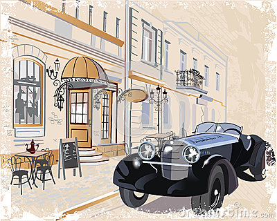 Series of vintage backgrounds decorated with retro cars and old city street views.