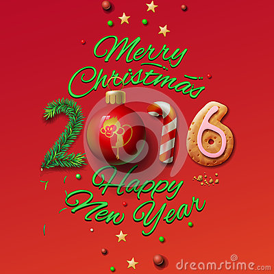 Happy New Year 2016 Greeting Card and Merry