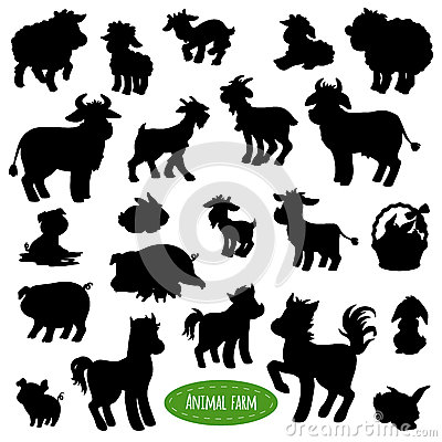 Set of farm animal silhouettes