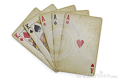 Full house aces and Kings old cards isolated