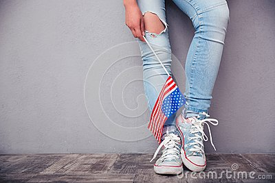 Female legs with USA flag