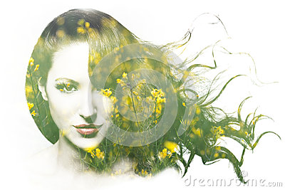 Double exposure of beautiful Caucasian woman