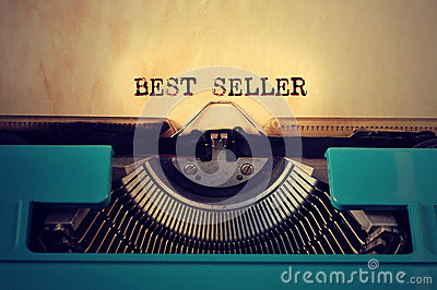 Retro typewritter and text best seller written with it