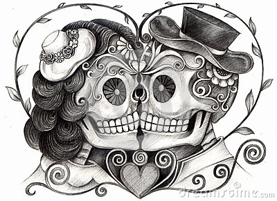 Skull art wedding day of the dead.