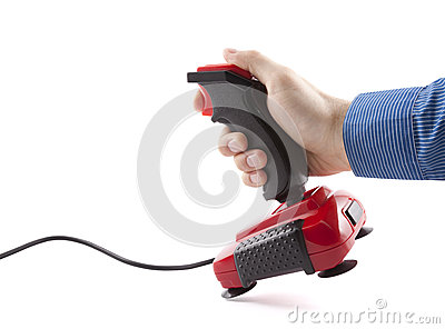 Computer joystick with hand isolated on white