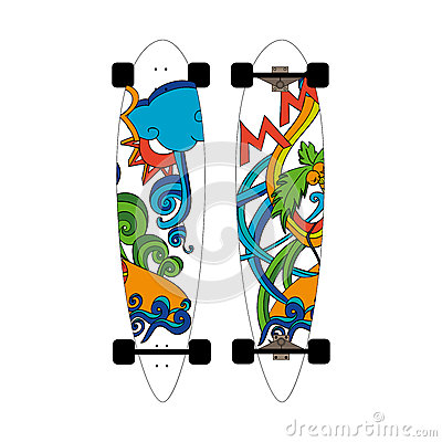 Longboard depicting doodles on a summer theme