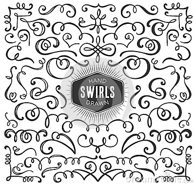 Hand drawn decorative curls and swirls collection. Vintage
