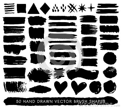 Hand drawn paint grunge brush strokes, drops and shapes. Vector