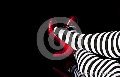 Red Shoes Striped Tights