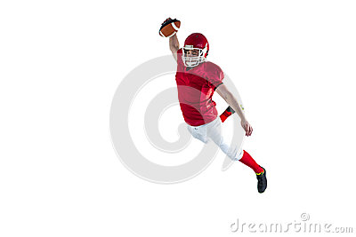 American football player scoring a touchdown