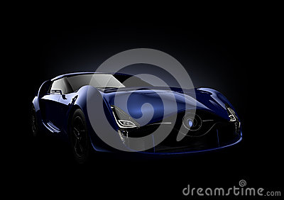 Blue sports car isolated on black background