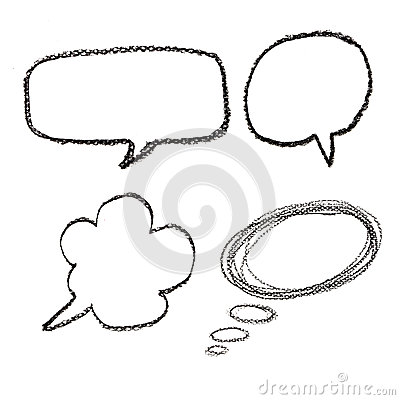 Hand drawn speech bubbles on  watercolor paper isolated on white
