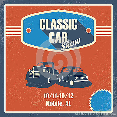 Classic car show poster. Old retro automobile