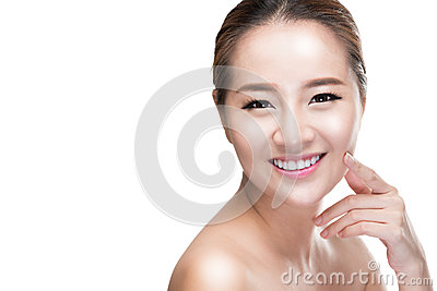 Asian beauty skincare woman touching skin on face, Beauty treatment concept.
