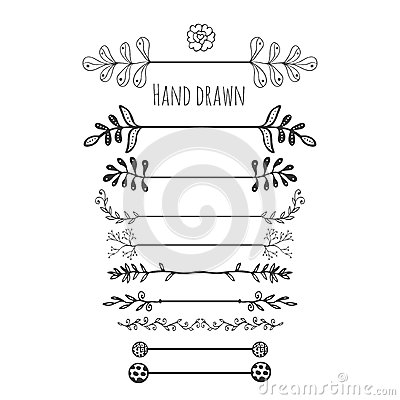 Hand drawn floral elements. Collection hand drawn border with ink doodle decoration. Retro style. Laurels, leaves, arrows, branche