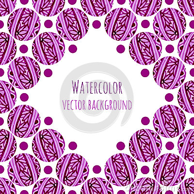 Watercolor frame background with pink floral circles knitting texture. Hand drawn vector illustration