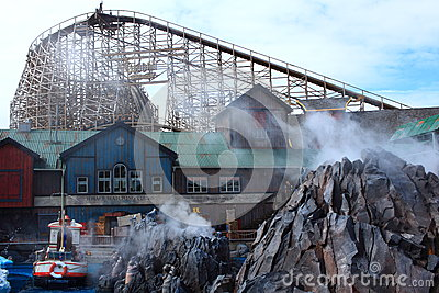 Icelandic themed scenery with wooden coaster