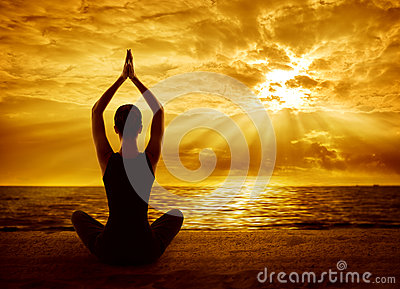 Yoga Meditation Concept, Woman Silhouette Healthy Meditating