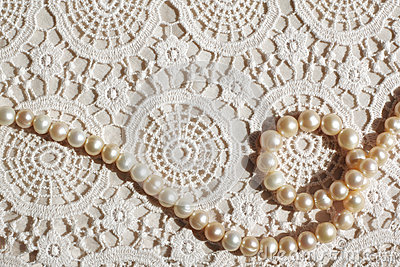 Pearl necklace on lace fabric