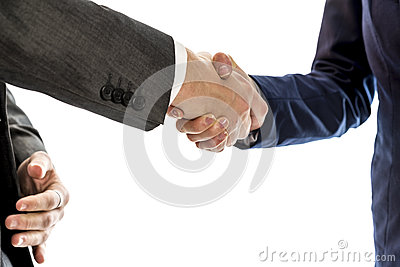 Confident businessman shaking hands with his female business partner