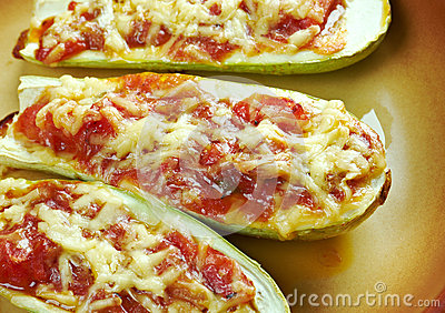 Baked zucchini boats and minced