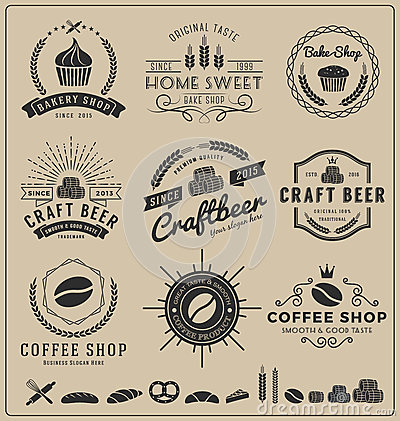 Sets Of Bake Shop Craft Beer Coffee Logo And Insignia For Branding