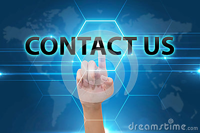 Business Hand pressing contact us button