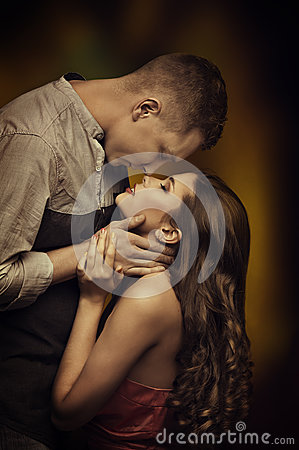 Young Couple Kissing in Love, Woman Man Lovers, Passion Desire