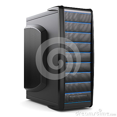 Server tower box. Black desktop PC