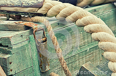 Old retro objects antique textural background wooden crates and ropes