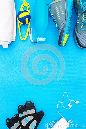 Different tools and accessories for sport.