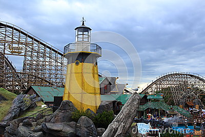 Lighthouse Icelandic themed with wooden roller coaster