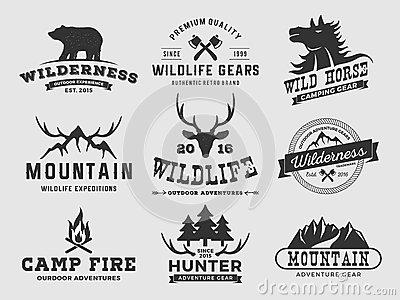 Set of outdoor wilderness adventure and mountain badge logo, emblem logo, label design | Vector illustration resize-able and free