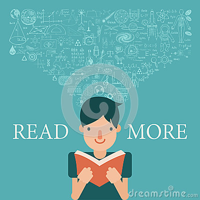 A boy reading a book with knowledge flow into his head. Extend knowledge by reading more concept