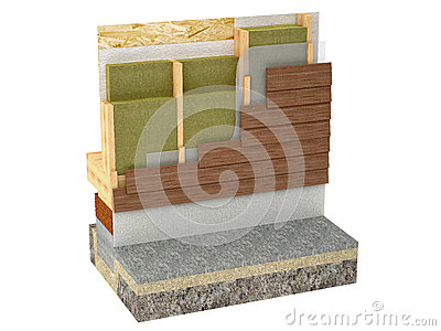 Wood framing house insulation on white background
