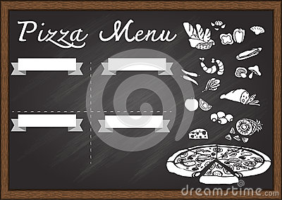 hand drawn pizza menu on chalkboard design template ready to use