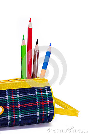 Sharpened pencils lay in a bright colorful pencil case
