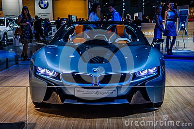 MOSCOW, RUSSIA - AUG 2012: BMW I8 CONCEPT SPYDER presented as wo