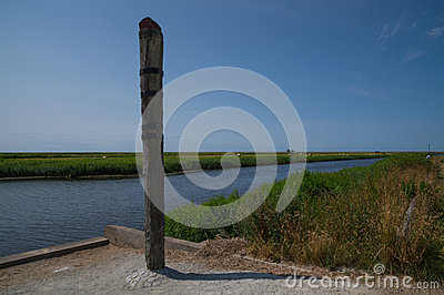 High water mark column at Vidaa, Wadden Sea, Denmark