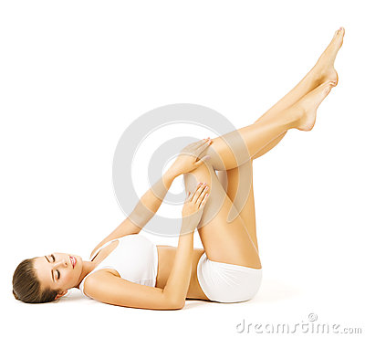 Woman Body Beauty, Lying Girl Touch Legs Skin, White Underwear