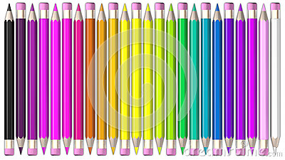 Set of coloured pencil. Pencils are aligned head to tail and sorted