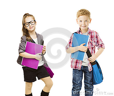 School Kids Group, Children Uniform on White, Little Girl Boy