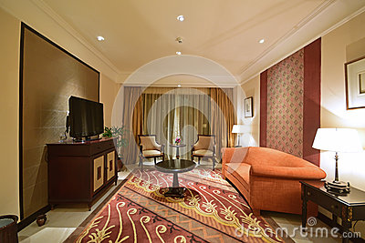 Traditional Southeast Asian themed Living Room of a Luxury Hotel Suite