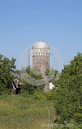 The Silo of a Barn That has Collapsed