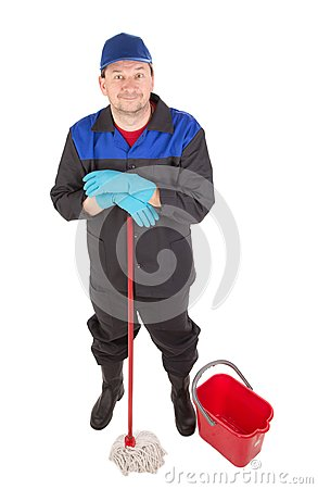 Man with bucket and red mop.