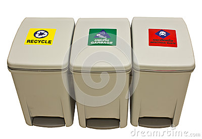 Garbage, recycle, infect waste bins