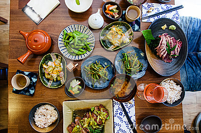 Japanese food at the restaurant