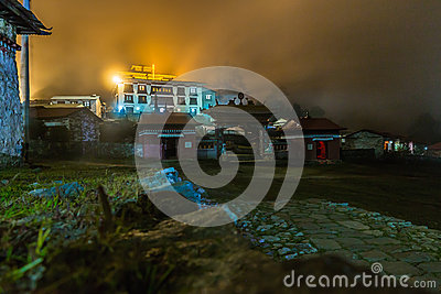Tengboche buddhist monastery building lights at night, Nepal.